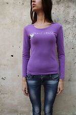 Armani Aj Camisa Top de manga larga púrpura Casuals Stretch Auth Girl's L Damas S