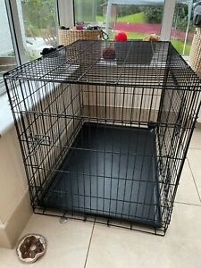 Extra large dog crate double door foldable VGC with grey fabric cover