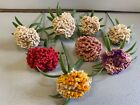 8+HandMade+Crotched+Flowers+on+Stems+VTG+5%E2%80%9D-6%E2%80%9D+Country+Home+Decor+Plastic+Leaves