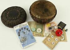 Vintage Sewing Accessories Woven Grass Basket Lot Buttons Thread Needles Thimble