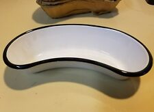 Vintage Vollrath White with Black Enamelware Hospital Emesis Basin New Old Stock