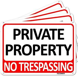 TICONN 4-Pack Private Property Sign, No Trespassing Aluminum Warning Sign, 7x10