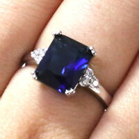 Sparkling Radiant Blue Sapphire Ring Women Wedding Jewelry 14K White Gold Plated