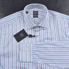 NWT - IKE BEHAR White Blue Striped 120 Cotton Luxury Dress Shirt - 14.5 x 32/33