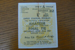 1961 WALTHAMSTOW V WEST AUCKLAND TOWN AMATEUR CUP FINAL TICKET