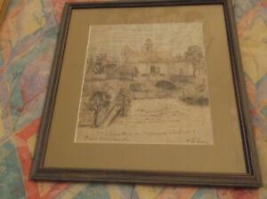 Folk Art, Probably Pennsylvania Memory,Farm, Pen and Crayon,Outsider Art
