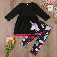 Unicorn Outfits Clothes Kids Baby Girls T-shirt Tops Dress +Long Pants 2PCS Set