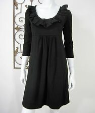 J CREW 3/4 SLEEVE DRESS SIZE S SMALL LBD SOLID BLACK RUFFLED NECKLINE HIGH WAIST