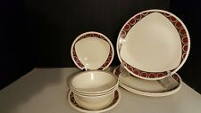 RARE 70's VTG. CORELLE Vitrelle RETRO Abstract pattern 4 dinner 3 bread 3 bowls