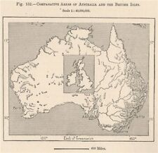 Comparative Areas of Australia and the British Isles 1885 old antique map