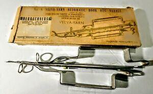 Vintage Velva-Yarn Hook Rug Needle Frederick Herrschner CO In Box W/Directions