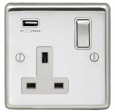 POLISHED STAINLESS STEEL SINGLE SOCKET OUTLET WITH SINGLE USB SOCKET, WHITE TRIM