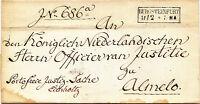 """Transit-Briefhülle von 1856 mit RA 2 """"BURGSTEINFURT"""" Franco Justizsache """"ALMELO"""""""