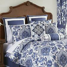 4PC SET CROSCILL LELAND DAMASK Blue/White King Comforter,Pillow Shams & Bedskirt