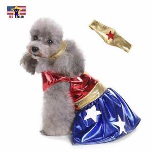 Wonder Woman Pet Costume Dress Cosplay DC Comics Justice League Dog Super Hero