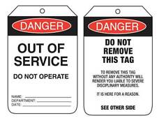 Danger Out Of Service  90x140mm Pkt 100 Card Safety Signs Reversable Tags UDT102