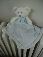 BLANKETS & BEYOND BABY BLUE CREAM TEDDY BEAR COMFORTER SOFT TOY BLANKIE SNUGGLE