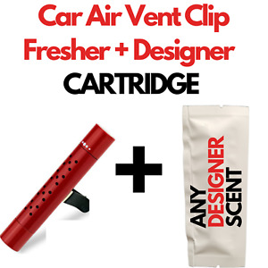 Car Air Vent Clip Freshener Perfume Diffuser + Fine & Designer Fragrances RED