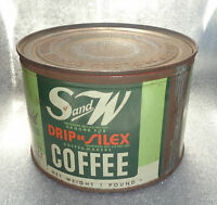 graphic old lithographed S&W key wind coffee tin