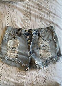 MINKPINK High Waist Denim Shorts Medium