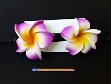 Hawaii Barrettes Duo 6cm Fleurs de Frangipanier Orange Blanc Violet