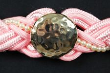 "Bubblegum Pink Rope Belt 29-37"" Vintage White Pearls Gold Metal Braided Stretch"