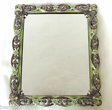GREEN FLOWERS+BROWN RIBBON+CRYSTAL DECORATIVE VANITY TRAY MIRROR-NEW+BOX DT-66
