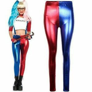 New Women's Metallic Wet Look Blue and Red Leggings Harley Quinn Suicide Squad