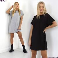 Womens Ladies Turn Up Sleeve Top Baggy Oversized Boyfriend Jersey T Shirt Dress