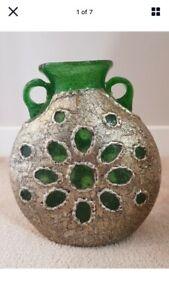 Unusual Vintage Twin Handle Hand Blown Art Vase Encased in White Metal (Silver)