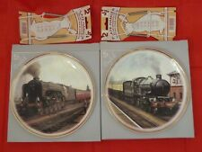 A PAIR ROYAL VALE ENGLISH CHINE WALL PLAQUE & PLATE HANGERS STEAM TRAIN WALL BOX