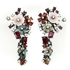 BEAUTIFUL! MULTI COLOR SAPPHIRE GARNET MOTHER OF PEARL & CZ .925 SILVER EARRINGS