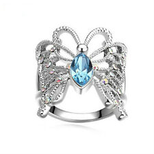 Atmosphere Fashion Women Butterfly Aquamarine Silver Wedding Ring Size 9
