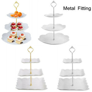 Cake Stand Afternoon Tea Wedding Plates Party Decorating Tableware Embossed Tray