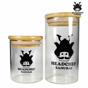 Headchef Samurai Herb Glass Jar Stash Pot Container Small & Large (Free Postage)