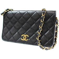 Chanel Imbottito Matelasse Catena Borsa a Tracolla Nera pelle Vintage Auth #L180