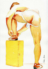 """PRINT of Original Art Work Watercolor Painting Gay Male Nude """"Ready to play"""""""