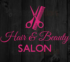 Hair and Beauty Salon Sign Vinyl Decal Business Window Sticker Cosmetology 10.5""