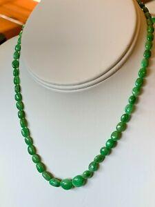 "Green Tsavorite Garnet Strand Necklace 15"" Sterling Silver 5-9mm beads"