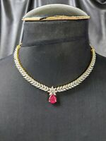 Classy Vintage Necklace with brilliant Marquise rhinestones and ruby Crystal