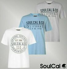 Mens SoulCal Short Sleeves Tonal Crew Top Long Line T Shirt Sizes from S to XXXL