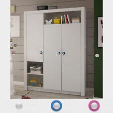 Kleiderschrank Paula Drehtürenschrank 3-türig weiß Griff weiß blau oder rosa