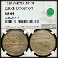 1939 Silver Switzerland Zurich Expo 5 Francs NGCMS64 Unc Toned Swiss 5F Coin