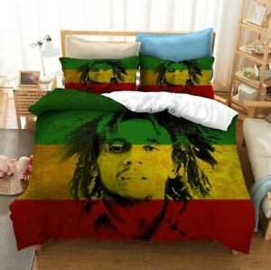 All Size Doona Duvet Quilt Cover Set with Pillow Case Reggae Singer Bob Marley