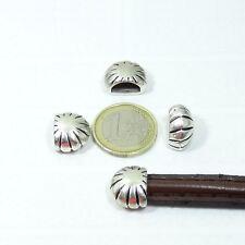 9 Abalorios Para Cuero Media Caña 16x13mm T344A Plata Tibetana Pelle Leather