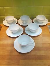 SIX ! 1960s Vintage Thomas Rosenthal White Porcelain Cups and Saucers