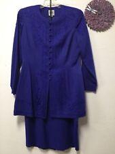 Ladies two piece formal skirt suit size 12 blue decorative R&M Richards 20