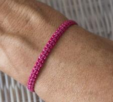 Bracelet brésilien amitié fil de coton ciré tresse porte bonheur rose dark 21153