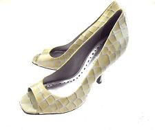BCBGirls Open Toe Leather Croco Pumps Beige Gray Women's Size 6B