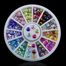 Wheel Nail Art Rhinestones Glitter Colorful Diamond Gems 3D Tips DIY Decoration
